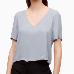 Aritzia Babaton Randy short sleeve v neck blouse